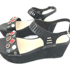 Nine West Feeah Studded Platform Wedge Sandals 8.5
